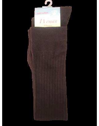 Zakolanówki damskie wzór  pasek bawełna brązowe Risocks