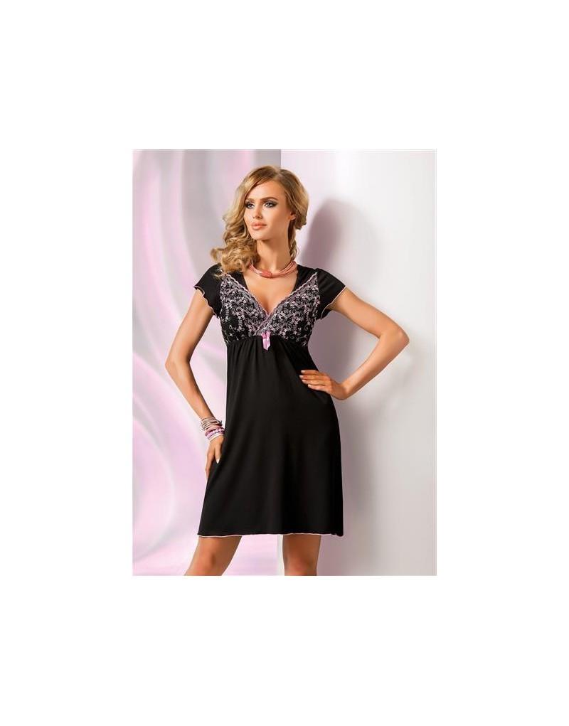 Koszulka nocna Ines Donna czarna z różem