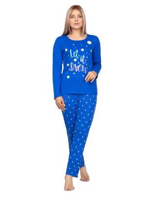Piżama damska bawełniana długie spodnie i koszulka Regina niebieska